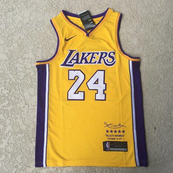 Kobe Bryant Lakers #24 Black Mamba Yellow Jersey